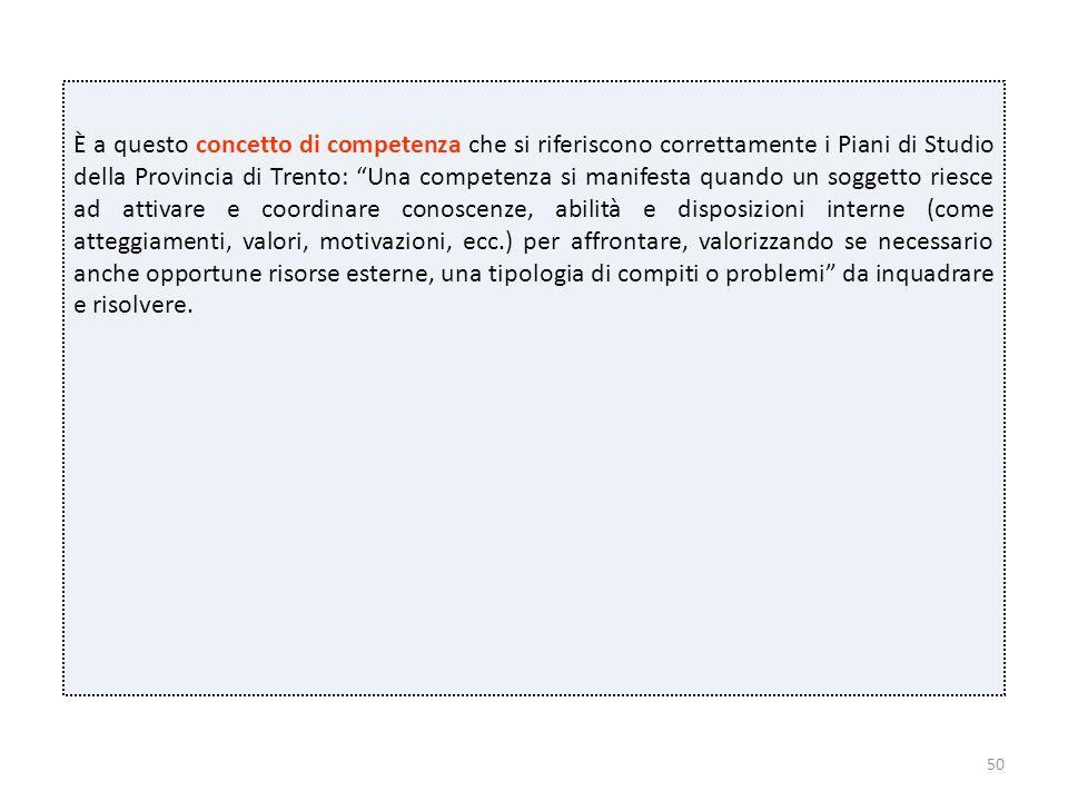 """50 È a questo concetto di competenza che si riferiscono correttamente i Piani di Studio della Provincia di Trento: """"Una competenza si manifesta quando"""