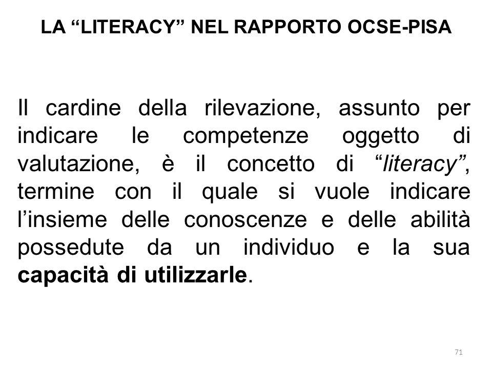 """71 LA """"LITERACY"""" NEL RAPPORTO OCSE-PISA Il cardine della rilevazione, assunto per indicare le competenze oggetto di valutazione, è il concetto di """"lit"""