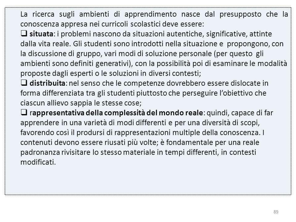 89 La ricerca sugli ambienti di apprendimento nasce dal presupposto che la conoscenza appresa nei curricoli scolastici deve essere:  situata: i probl
