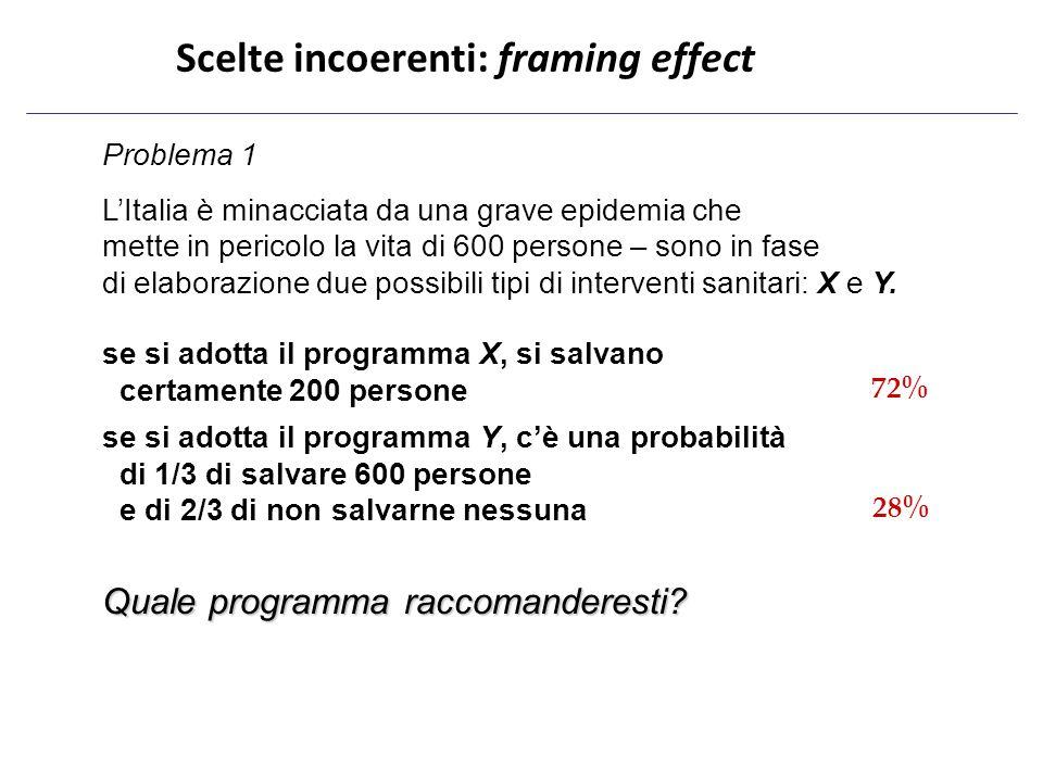 Problema 1 L'Italia è minacciata da una grave epidemia che mette in pericolo la vita di 600 persone – sono in fase di elaborazione due possibili tipi