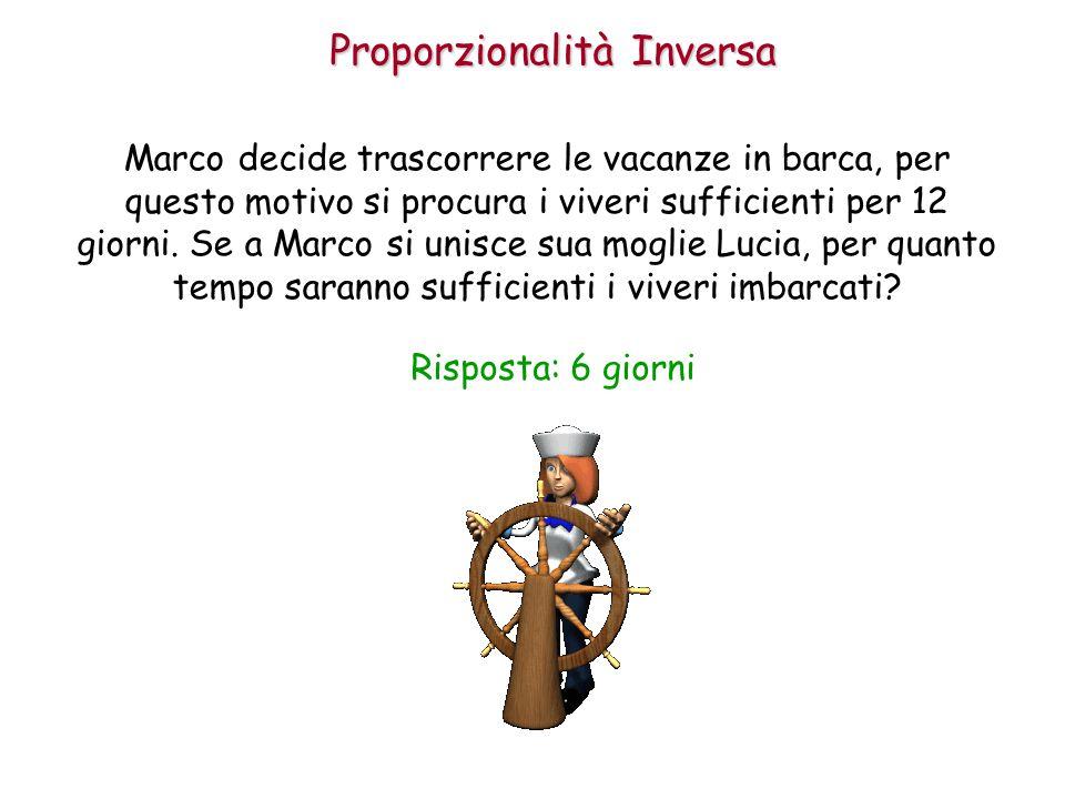 Proporzionalità Inversa Marco decide trascorrere le vacanze in barca, per questo motivo si procura i viveri sufficienti per 12 giorni. Se a Marco si u