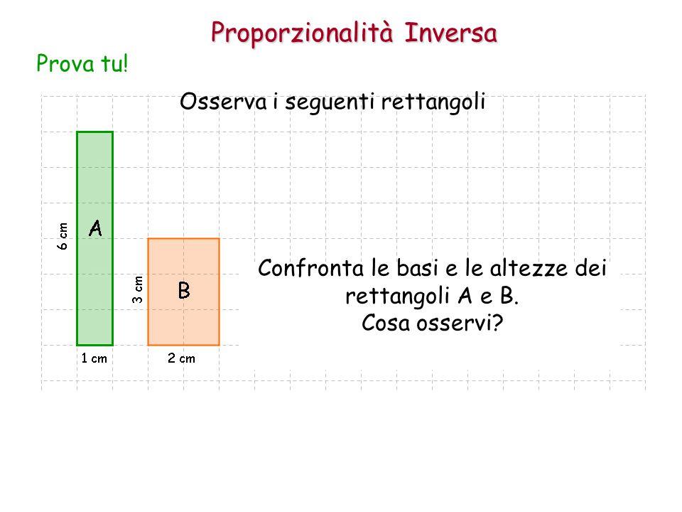 Proporzionalità Inversa Osserva i seguenti rettangoli Prova tu! Confronta le basi e le altezze dei rettangoli A e B. Cosa osservi?
