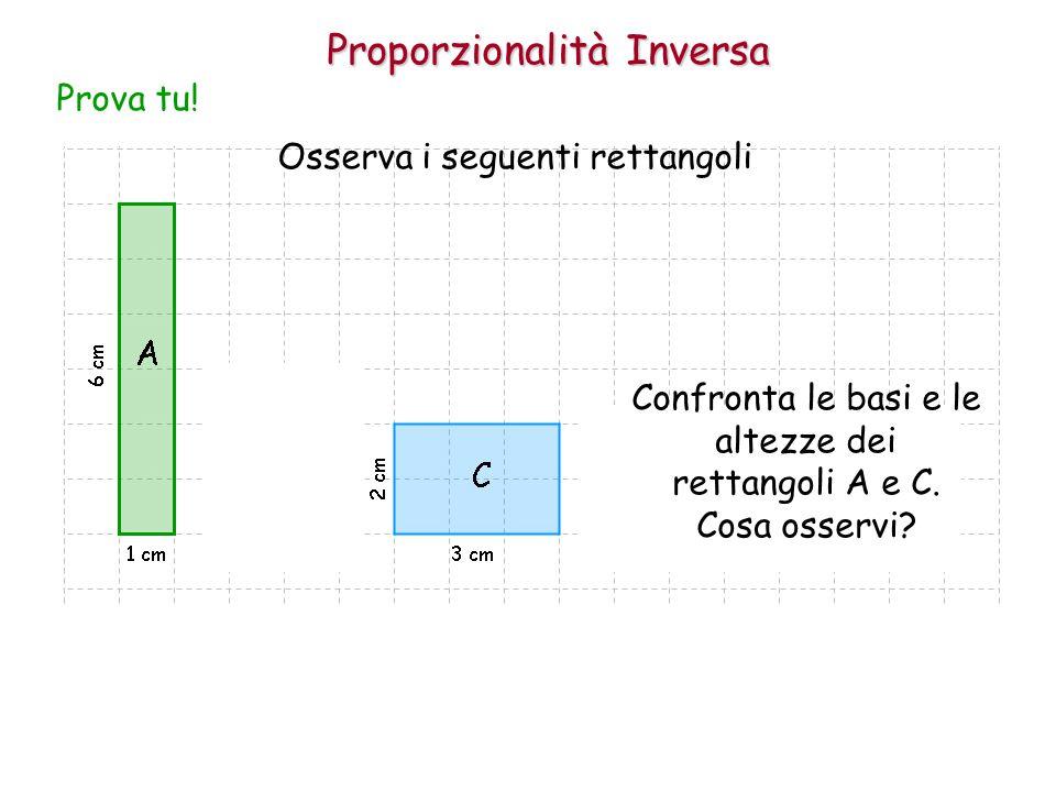 Proporzionalità Inversa Osserva i seguenti rettangoli Prova tu! Confronta le basi e le altezze dei rettangoli A e C. Cosa osservi?