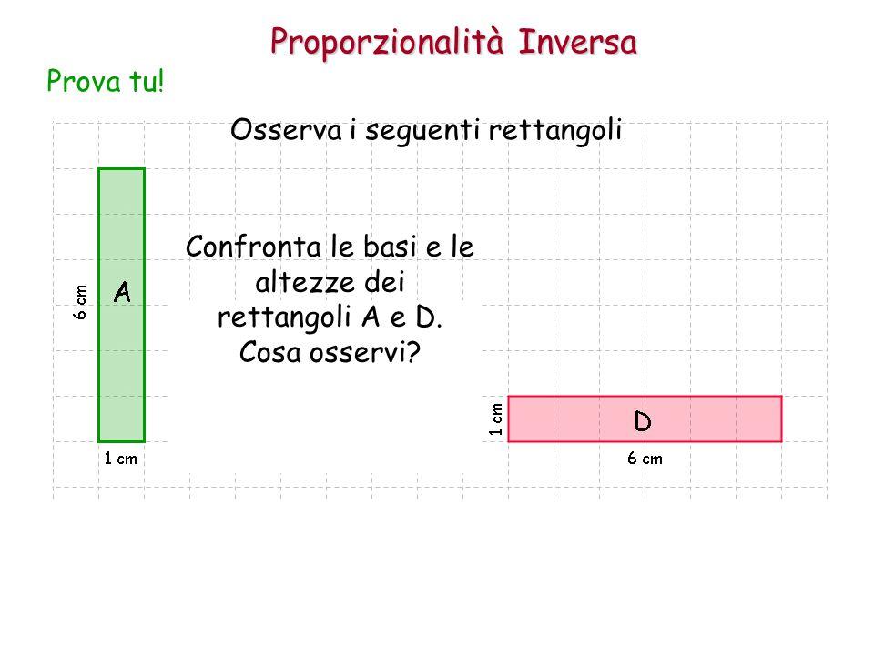 Proporzionalità Inversa Osserva i seguenti rettangoli Prova tu! Confronta le basi e le altezze dei rettangoli A e D. Cosa osservi?