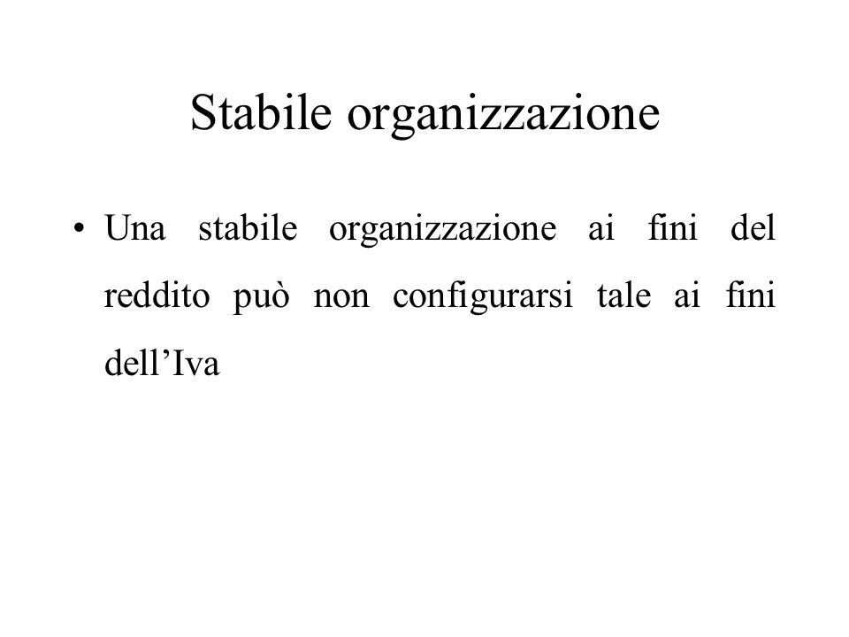 Stabile organizzazione Una stabile organizzazione ai fini del reddito può non configurarsi tale ai fini dell'Iva