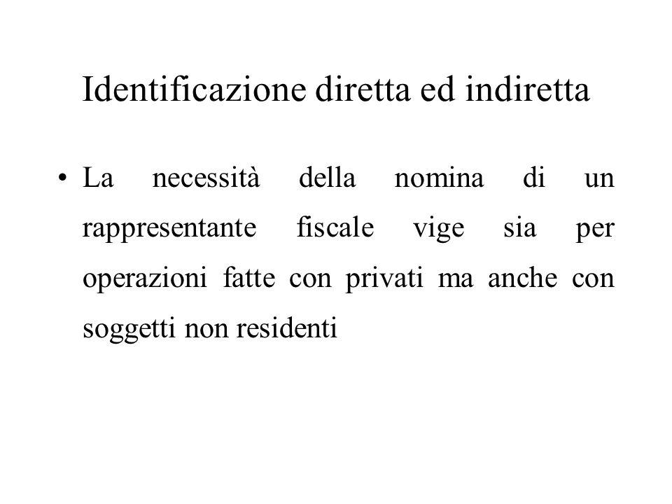 Identificazione diretta ed indiretta La necessità della nomina di un rappresentante fiscale vige sia per operazioni fatte con privati ma anche con sog