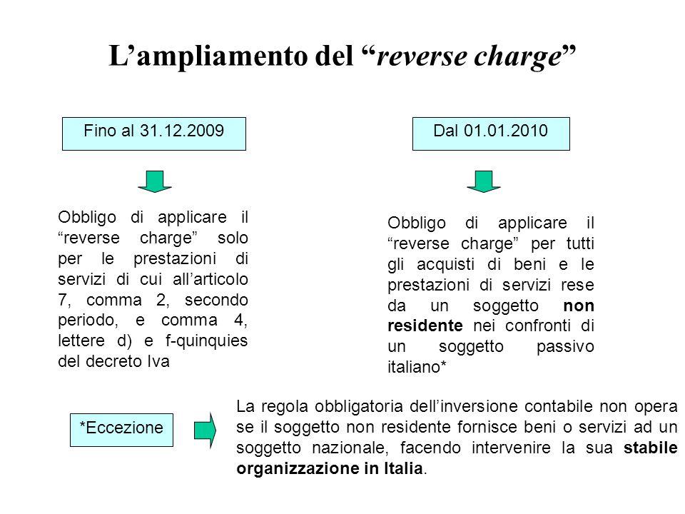 """L'ampliamento del """"reverse charge"""" Fino al 31.12.2009 Obbligo di applicare il """"reverse charge"""" solo per le prestazioni di servizi di cui all'articolo"""