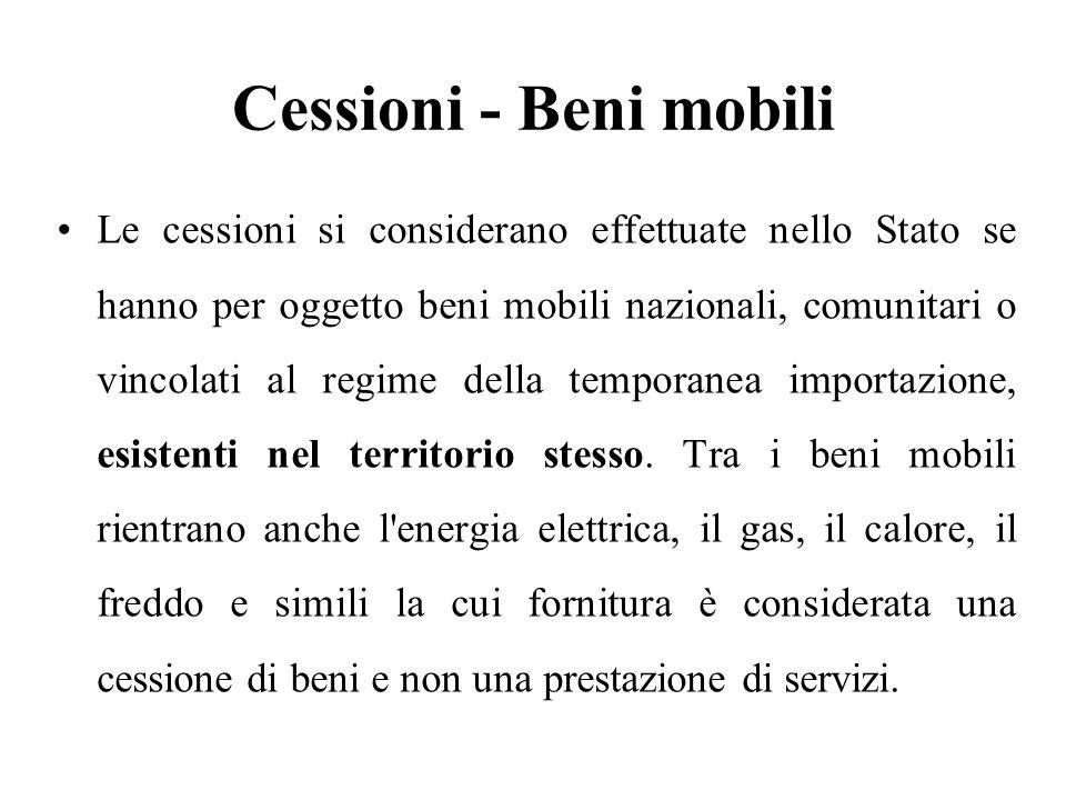 Cessioni - Beni mobili Le cessioni si considerano effettuate nello Stato se hanno per oggetto beni mobili nazionali, comunitari o vincolati al regime