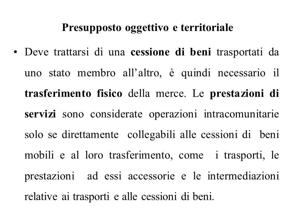 Presupposto oggettivo e territoriale Deve trattarsi di una cessione di beni trasportati da uno stato membro all'altro, è quindi necessario il trasferi