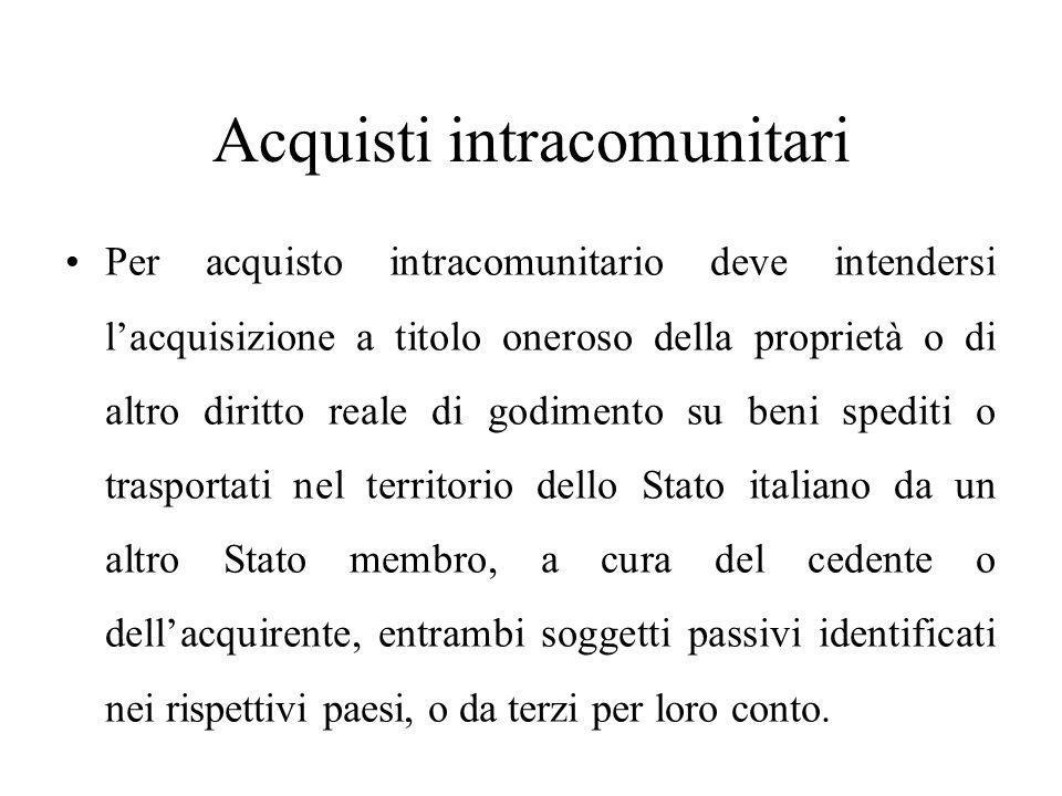 Acquisti intracomunitari Per acquisto intracomunitario deve intendersi l'acquisizione a titolo oneroso della proprietà o di altro diritto reale di god