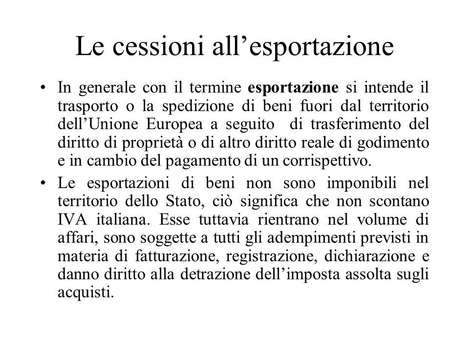Le cessioni all'esportazione In generale con il termine esportazione si intende il trasporto o la spedizione di beni fuori dal territorio dell'Unione
