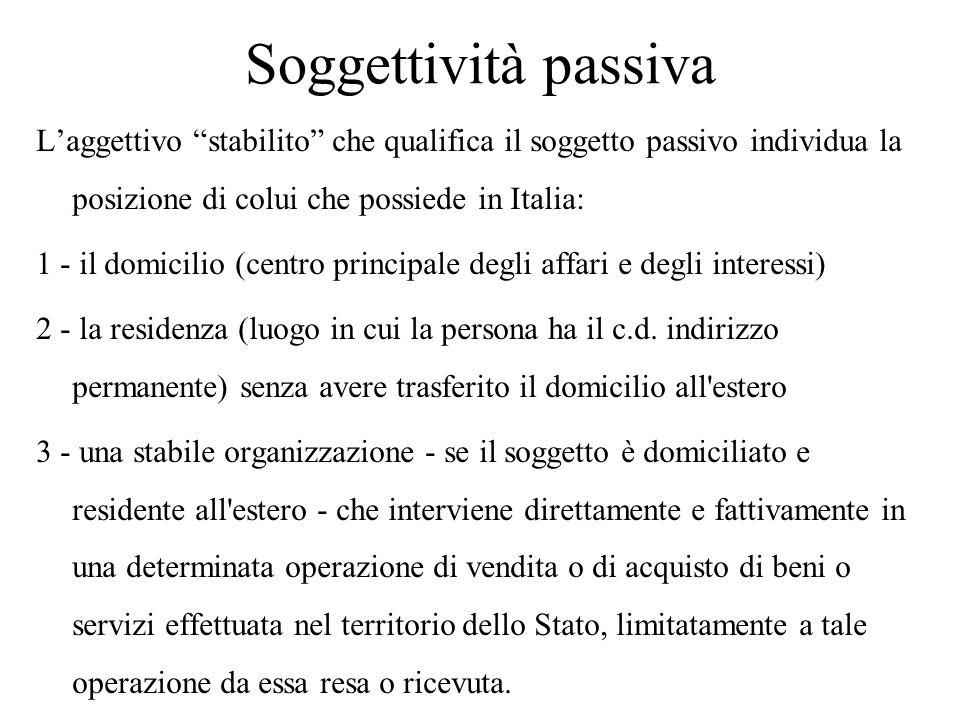 """Soggettività passiva L'aggettivo """"stabilito"""" che qualifica il soggetto passivo individua la posizione di colui che possiede in Italia: 1 - il domicili"""
