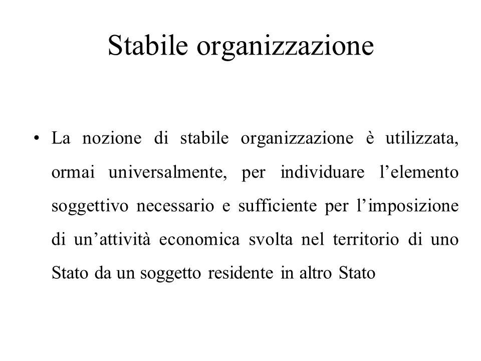 Stabile organizzazione La nozione di stabile organizzazione è utilizzata, ormai universalmente, per individuare l'elemento soggettivo necessario e suf