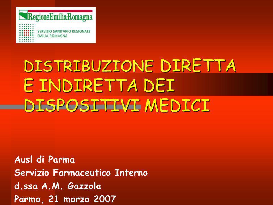 DISTRIBUZIONE DIRETTA E INDIRETTA DEI DISPOSITIVI MEDICI Ausl di Parma Servizio Farmaceutico Interno d.ssa A.M. Gazzola Parma, 21 marzo 2007
