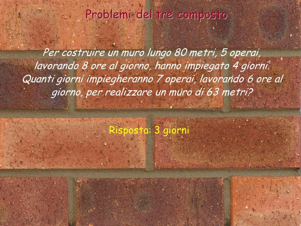 Per costruire un muro lungo 80 metri, 5 operai, lavorando 8 ore al giorno, hanno impiegato 4 giorni.
