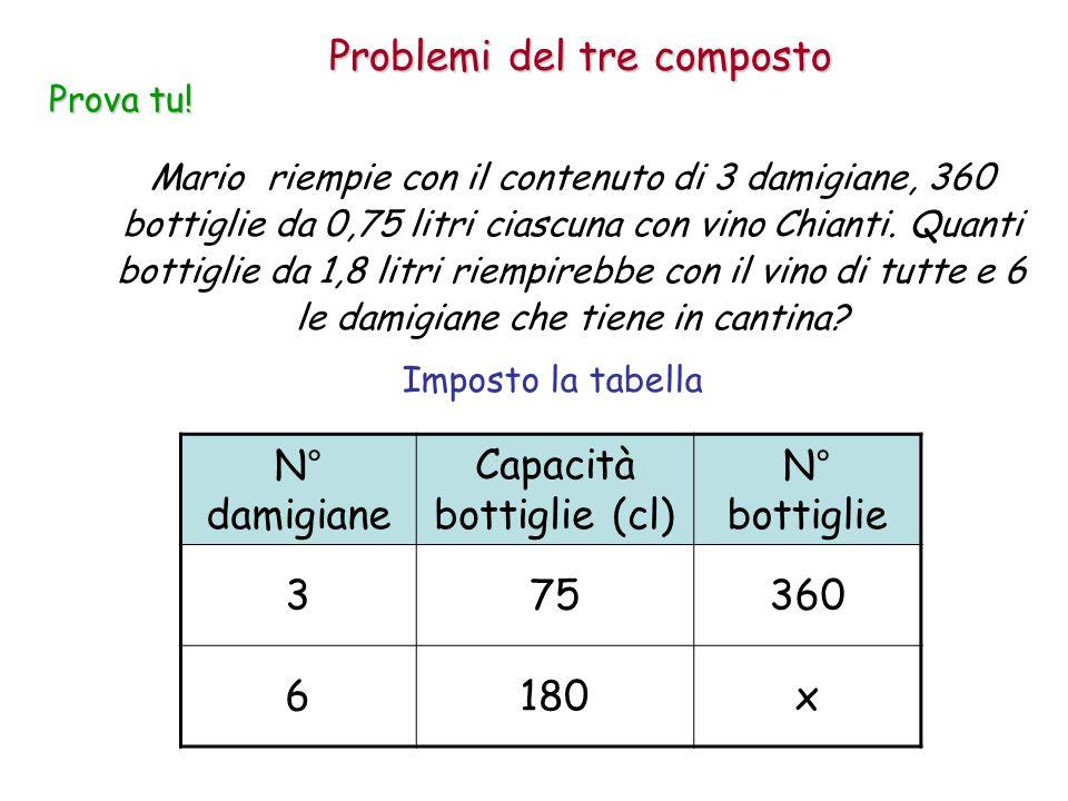 Imposto la tabella Mario riempie con il contenuto di 3 damigiane, 360 bottiglie da 0,75 litri ciascuna con vino Chianti. Quanti bottiglie da 1,8 litri