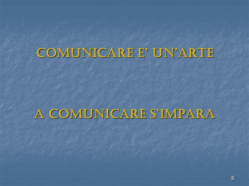 5 COMUNICARE E' UN'ARTE A COMUNICARE S'IMPARA