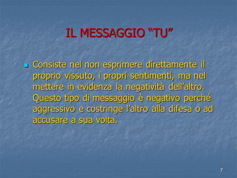 7 IL MESSAGGIO TU Consiste nel non esprimere direttamente il proprio vissuto, i propri sentimenti, ma nel mettere in evidenza la negatività dell'altro.
