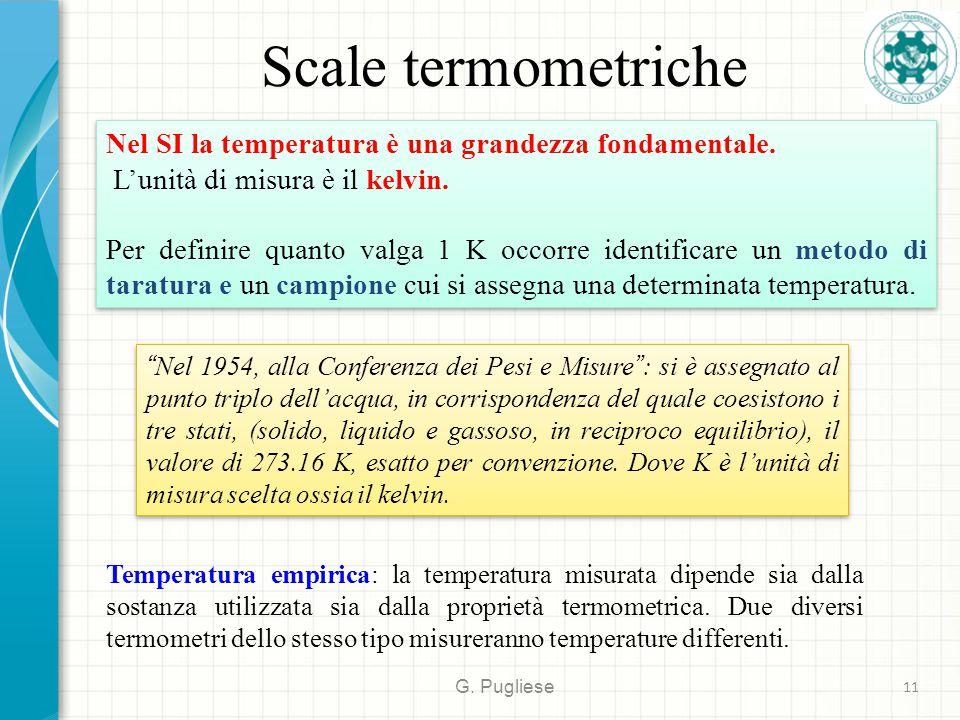Scale termometriche G.Pugliese 11 Nel SI la temperatura è una grandezza fondamentale.