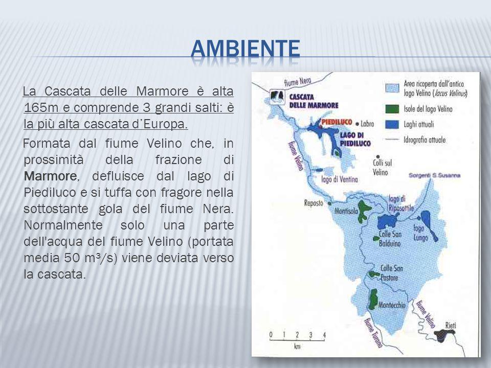 La Cascata delle Marmore è alta 165m e comprende 3 grandi salti: è la più alta cascata d'Europa. Formata dal fiume Velino che, in prossimità della fra