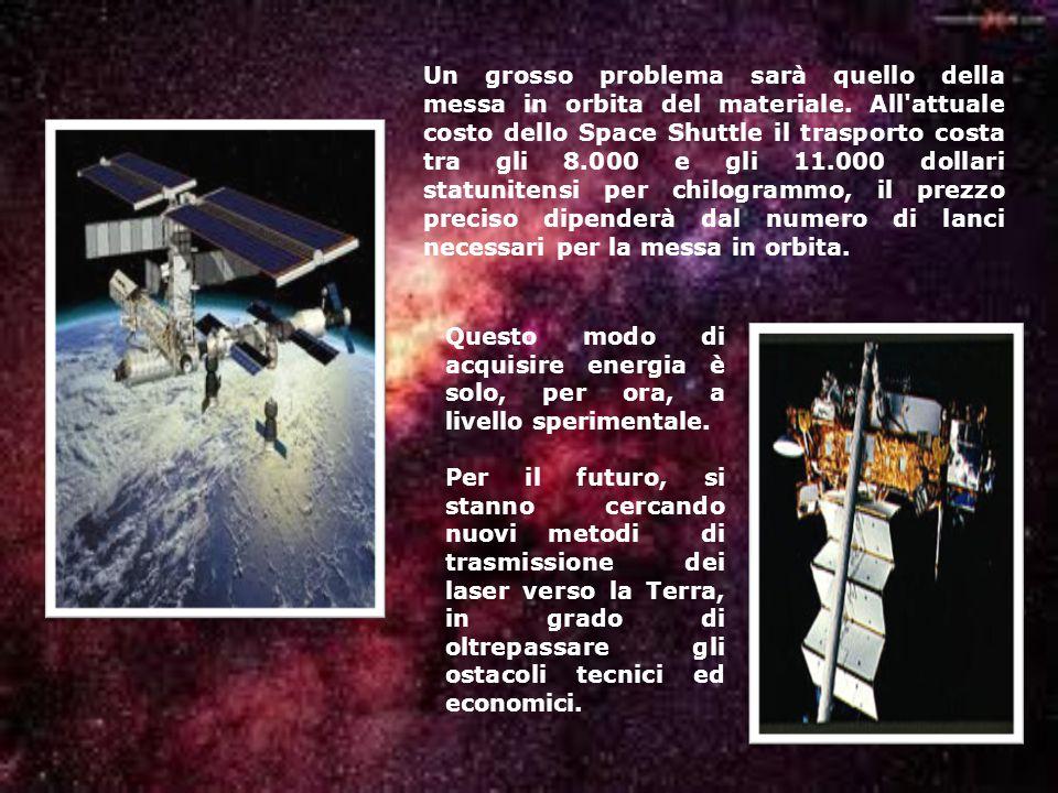 Un grosso problema sarà quello della messa in orbita del materiale. All'attuale costo dello Space Shuttle il trasporto costa tra gli 8.000 e gli 11.00