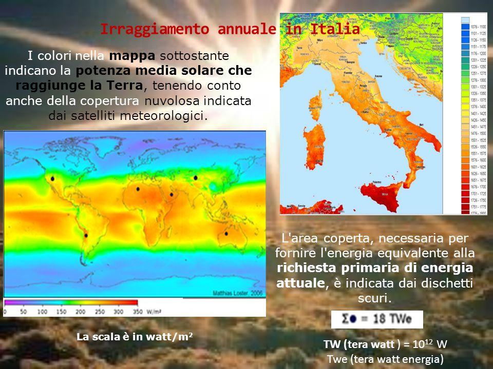 I colori nella mappa sottostante indicano la potenza media solare che raggiunge la Terra, tenendo conto anche della copertura nuvolosa indicata dai sa
