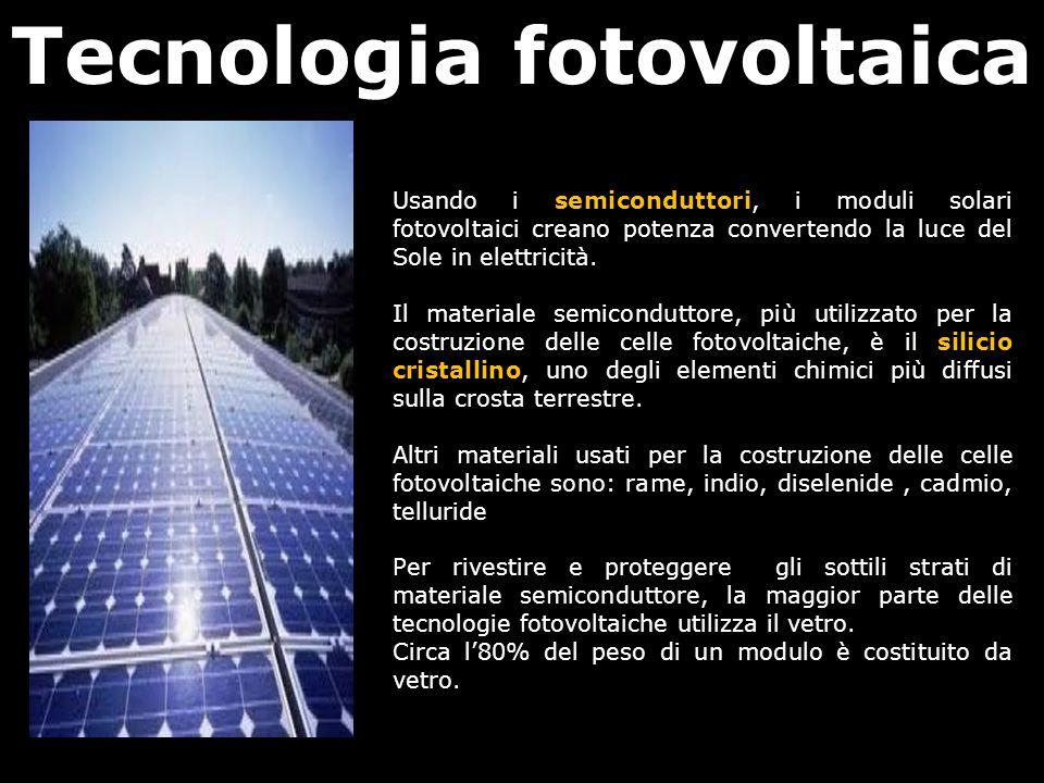 Tecnologia fotovoltaica Usando i semiconduttori, i moduli solari fotovoltaici creano potenza convertendo la luce del Sole in elettricità. Il materiale