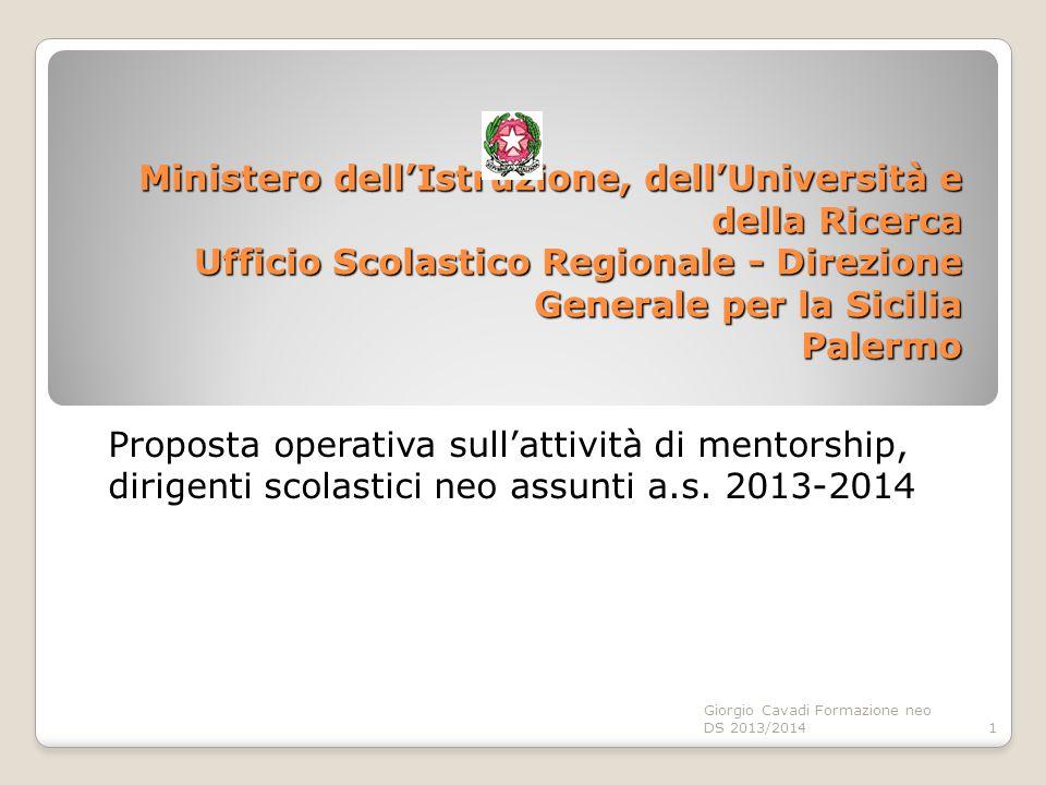 Ministero dell'Istruzione, dell'Università e della Ricerca Ufficio Scolastico Regionale - Direzione Generale per la Sicilia Palermo Proposta operativa