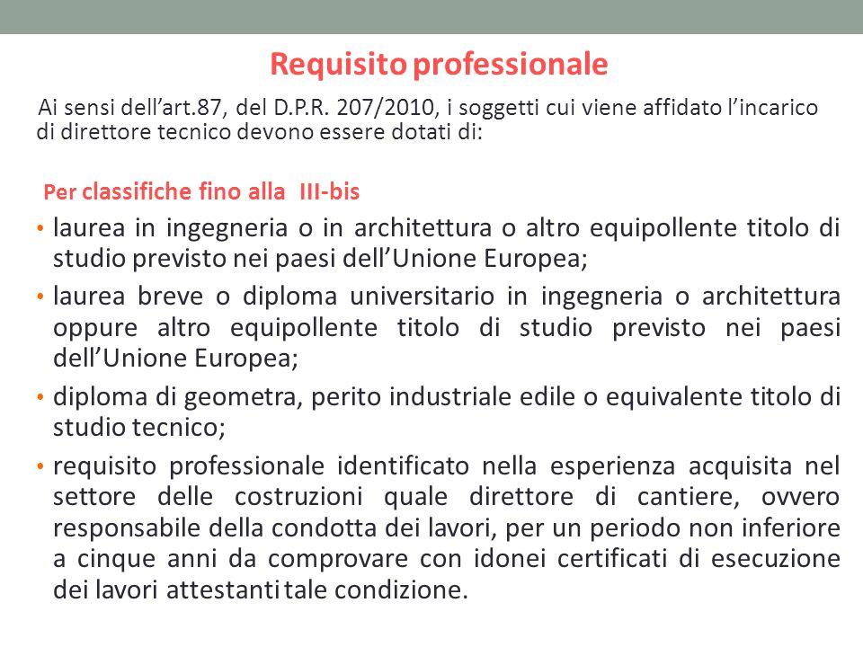Requisito professionale Ai sensi dell'art.87, del D.P.R.