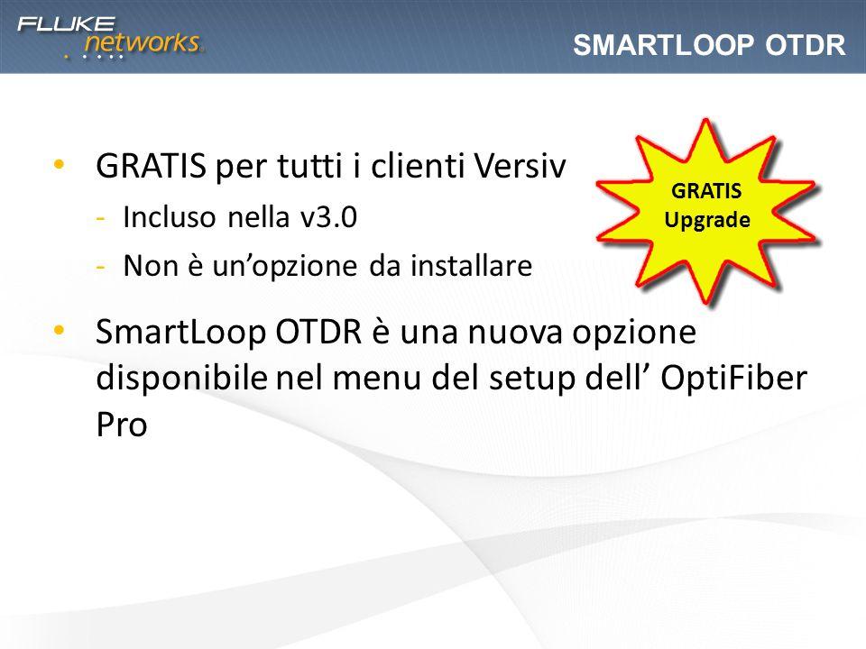 GRATIS per tutti i clienti Versiv -Incluso nella v3.0 -Non è un'opzione da installare SmartLoop OTDR è una nuova opzione disponibile nel menu del setu