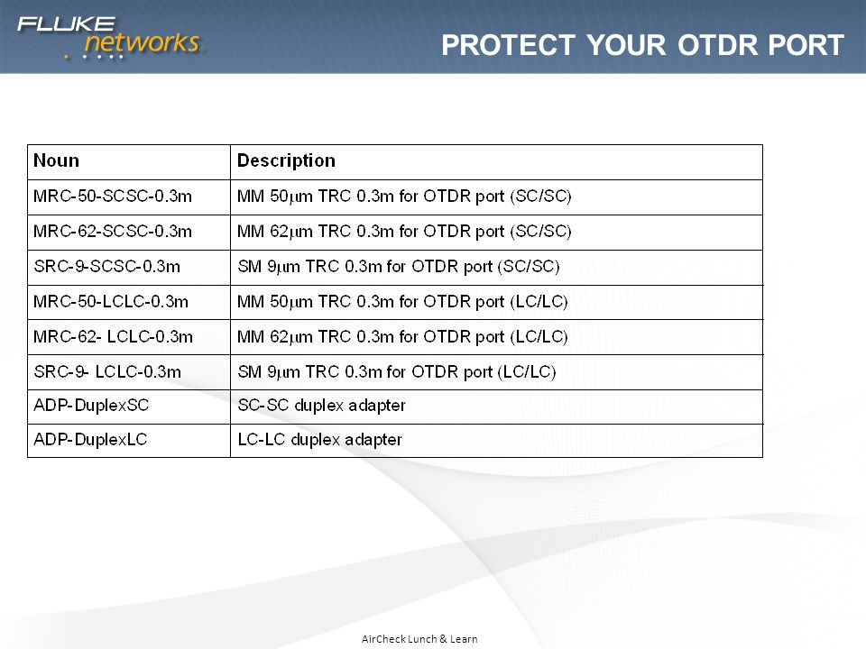 AirCheck Lunch & Learn PROTECT YOUR OTDR PORT