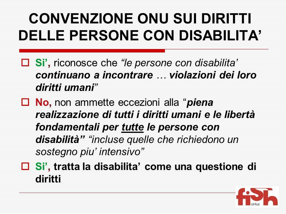 """CONVENZIONE ONU SUI DIRITTI DELLE PERSONE CON DISABILITA'  Si', riconosce che """"le persone con disabilita' continuano a incontrare … violazioni dei lo"""