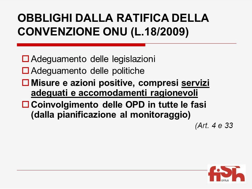 OBBLIGHI DALLA RATIFICA DELLA CONVENZIONE ONU (L.18/2009)  Adeguamento delle legislazioni  Adeguamento delle politiche  Misure e azioni positive, c