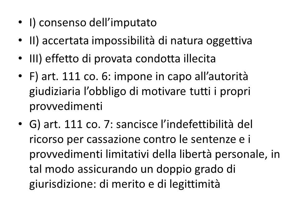 I) consenso dell'imputato II) accertata impossibilità di natura oggettiva III) effetto di provata condotta illecita F) art.