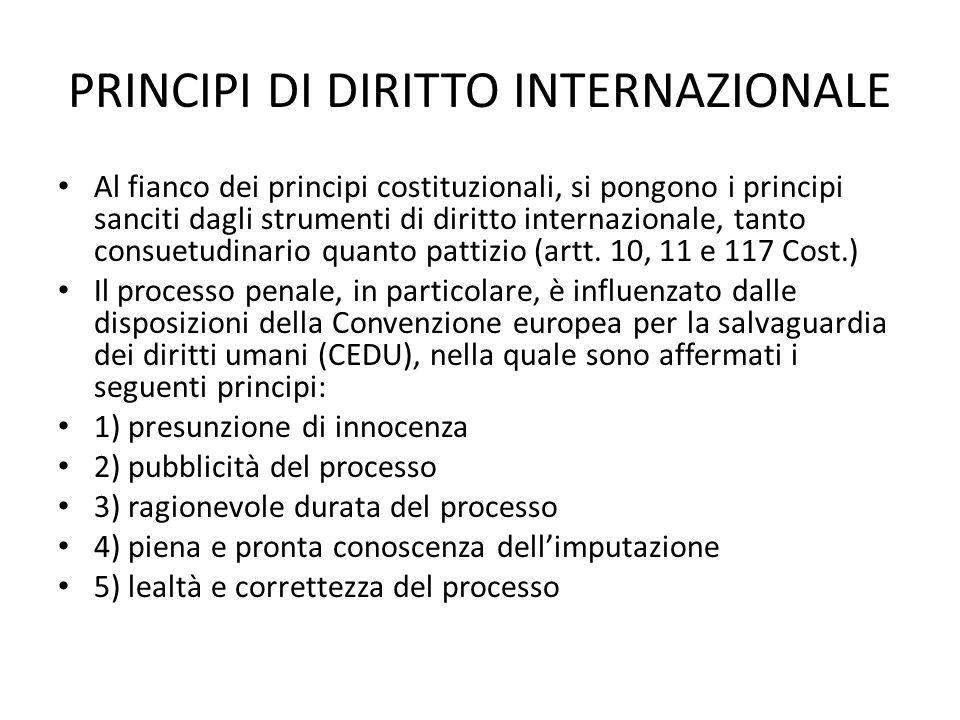 PRINCIPI DI DIRITTO INTERNAZIONALE Al fianco dei principi costituzionali, si pongono i principi sanciti dagli strumenti di diritto internazionale, tanto consuetudinario quanto pattizio (artt.