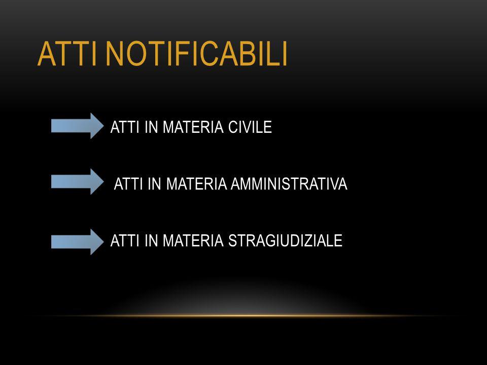 ATTI NOTIFICABILI ATTI IN MATERIA CIVILE ATTI IN MATERIA AMMINISTRATIVA ATTI IN MATERIA STRAGIUDIZIALE
