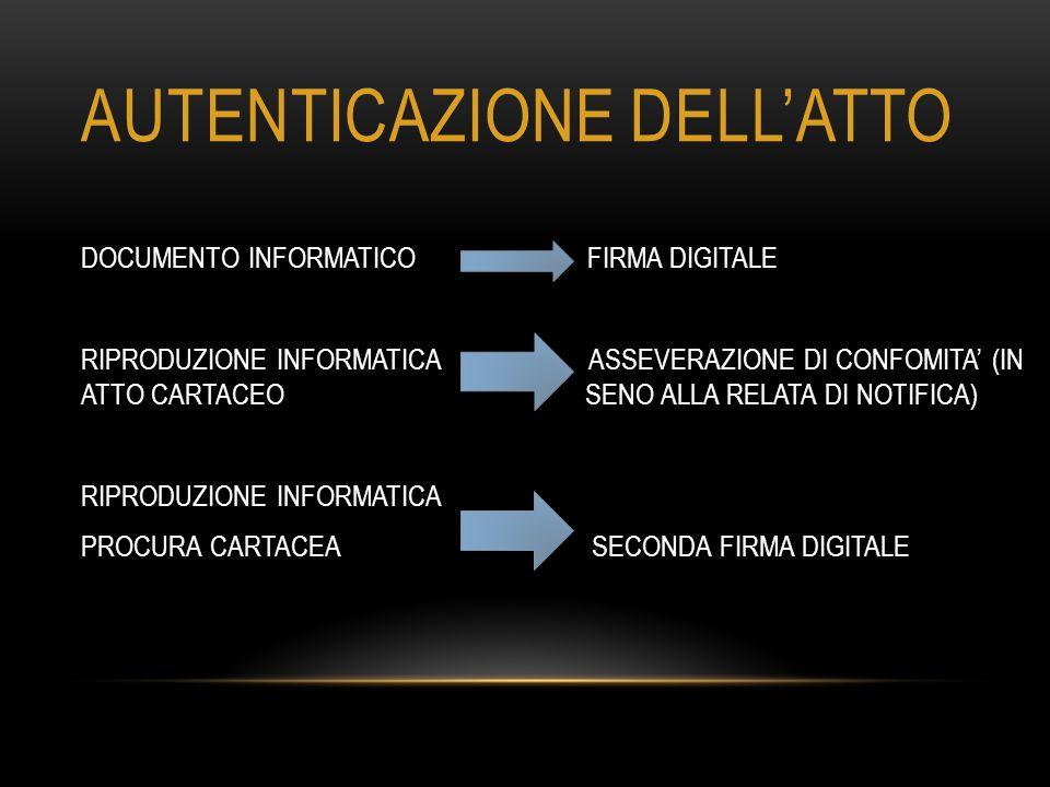 AUTENTICAZIONE DELL'ATTO DOCUMENTO INFORMATICO FIRMA DIGITALE RIPRODUZIONE INFORMATICA ASSEVERAZIONE DI CONFOMITA' (IN ATTO CARTACEO SENO ALLA RELATA