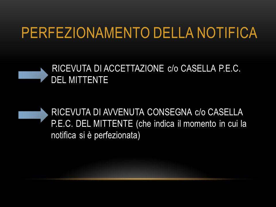 PERFEZIONAMENTO DELLA NOTIFICA RICEVUTA DI ACCETTAZIONE c/o CASELLA P.E.C. DEL MITTENTE RICEVUTA DI AVVENUTA CONSEGNA c/o CASELLA P.E.C. DEL MITTENTE