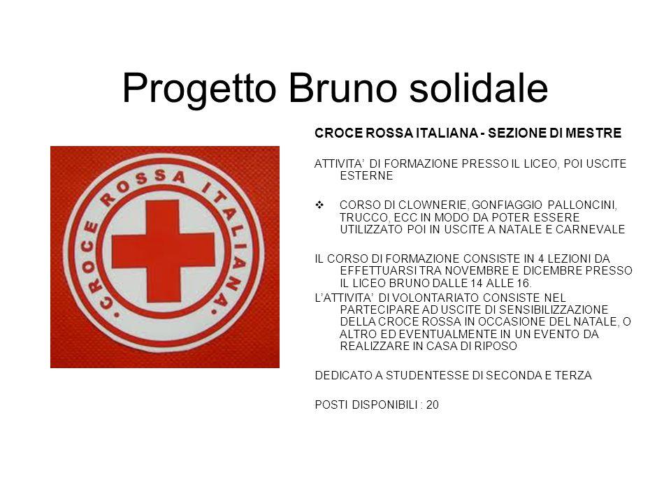 Progetto Bruno solidale CROCE ROSSA ITALIANA - SEZIONE DI MESTRE ATTIVITA' DI FORMAZIONE PRESSO IL LICEO, POI USCITE ESTERNE  CORSO DI CLOWNERIE, GON
