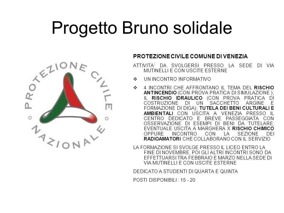 Progetto Bruno solidale PROTEZIONE CIVILE COMUNE DI VENEZIA ATTIVITA' DA SVOLGERSI PRESSO LA SEDE DI VIA MUTINELLI E CON USCITE ESTERNE  UN INCONTRO