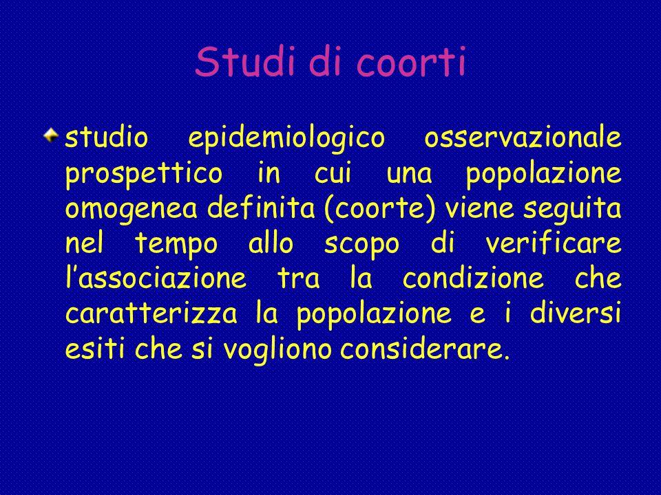 Studi di coorti studio epidemiologico osservazionale prospettico in cui una popolazione omogenea definita (coorte) viene seguita nel tempo allo scopo