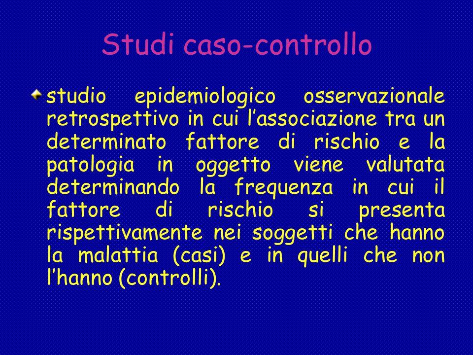 Studi caso-controllo studio epidemiologico osservazionale retrospettivo in cui l'associazione tra un determinato fattore di rischio e la patologia in