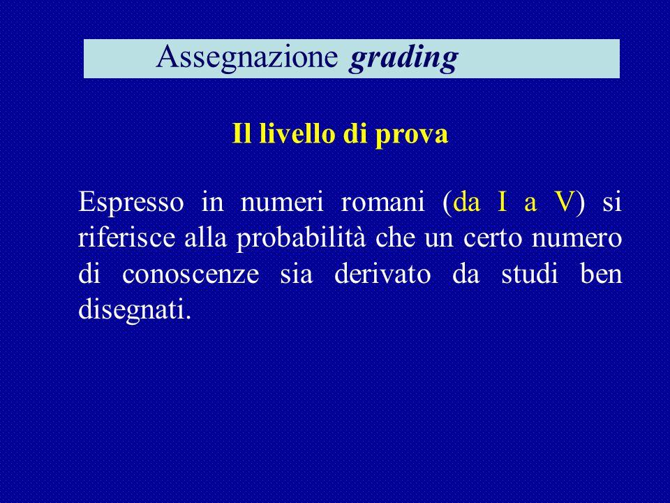 Il livello di prova Espresso in numeri romani (da I a V) si riferisce alla probabilità che un certo numero di conoscenze sia derivato da studi ben disegnati.