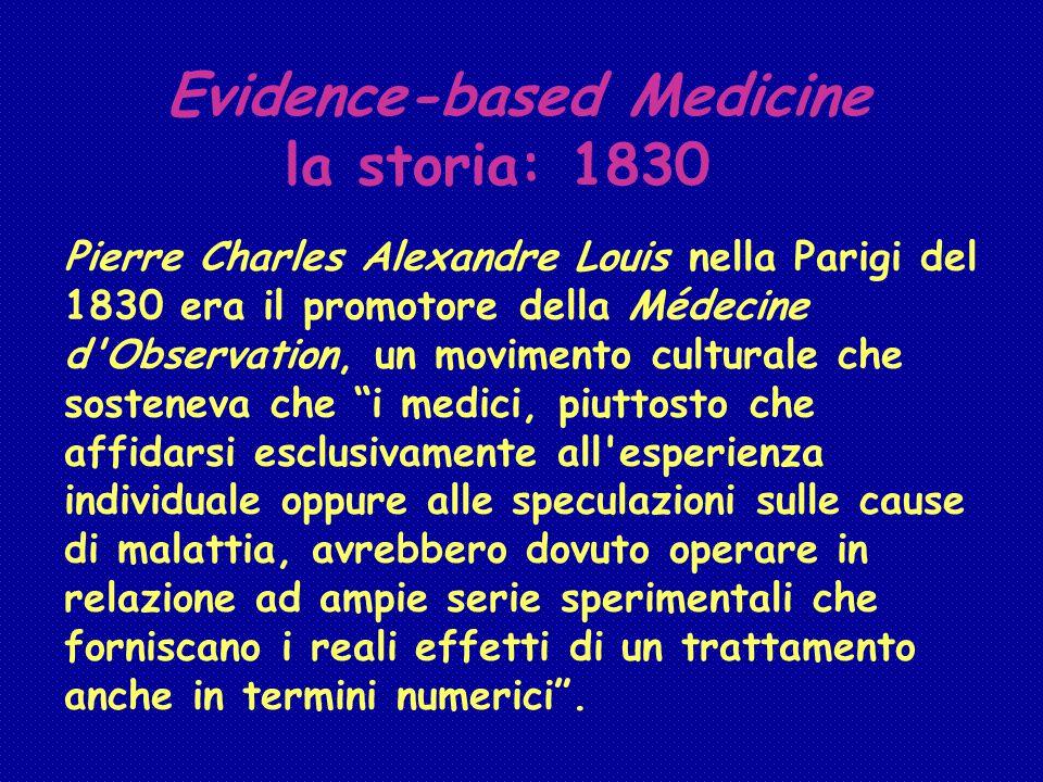 Evidence-based Medicine la storia: 1830 Pierre Charles Alexandre Louis nella Parigi del 1830 era il promotore della Médecine d'Observation, un movimen