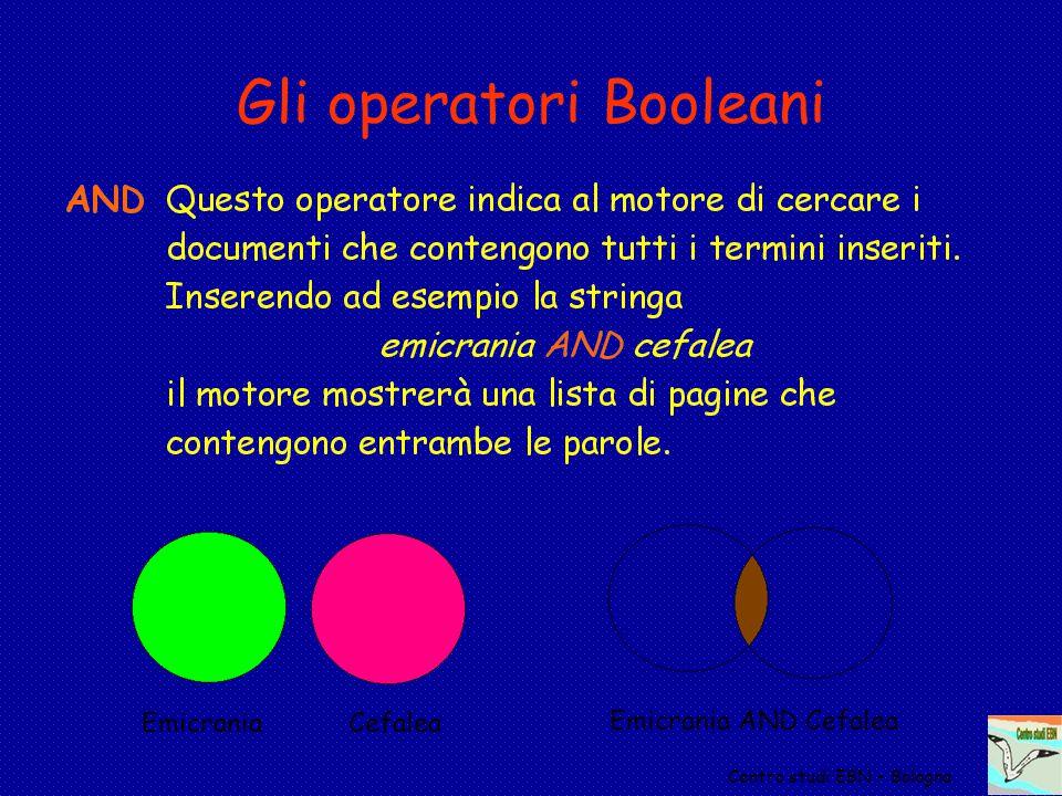 Gli operatori Booleani Centro studi EBN - Bologna Emicrania Cefalea Emicrania AND Cefalea