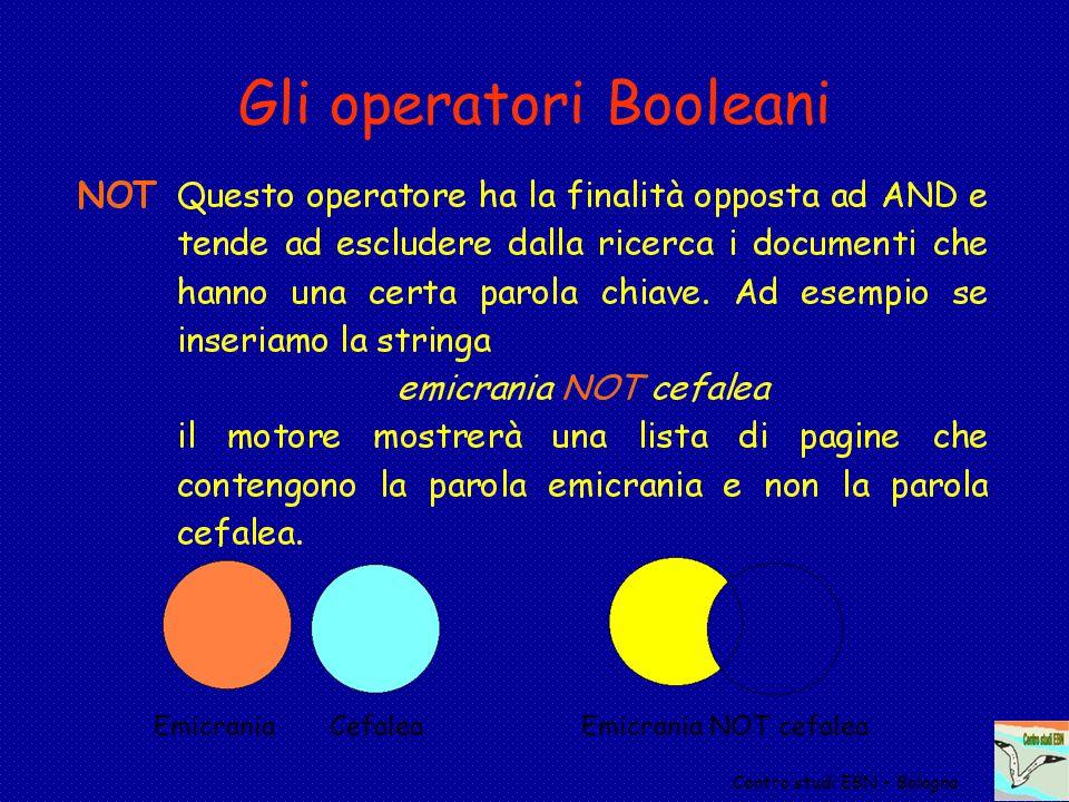 Centro studi EBN - Bologna Gli operatori Booleani Emicrania CefaleaEmicrania NOT cefalea