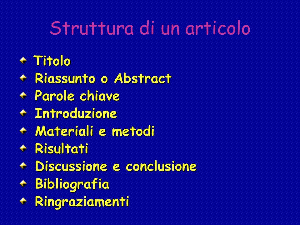 Struttura di un articolo Titolo Titolo Riassunto o Abstract Riassunto o Abstract Parole chiave Parole chiave Introduzione Introduzione Materiali e met
