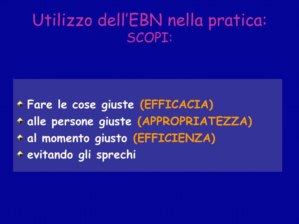 Utilizzo dell'EBN nella pratica: SCOPI: Fare le cose giuste (EFFICACIA) alle persone giuste (APPROPRIATEZZA) al momento giusto (EFFICIENZA) evitando gli sprechi