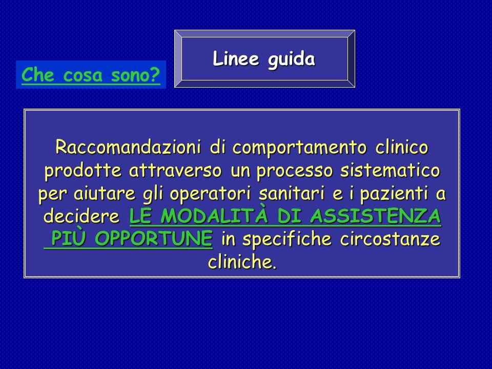 Raccomandazioni di comportamento clinico prodotte attraverso un processo sistematico per aiutare gli operatori sanitari e i pazienti a decidere LE MOD