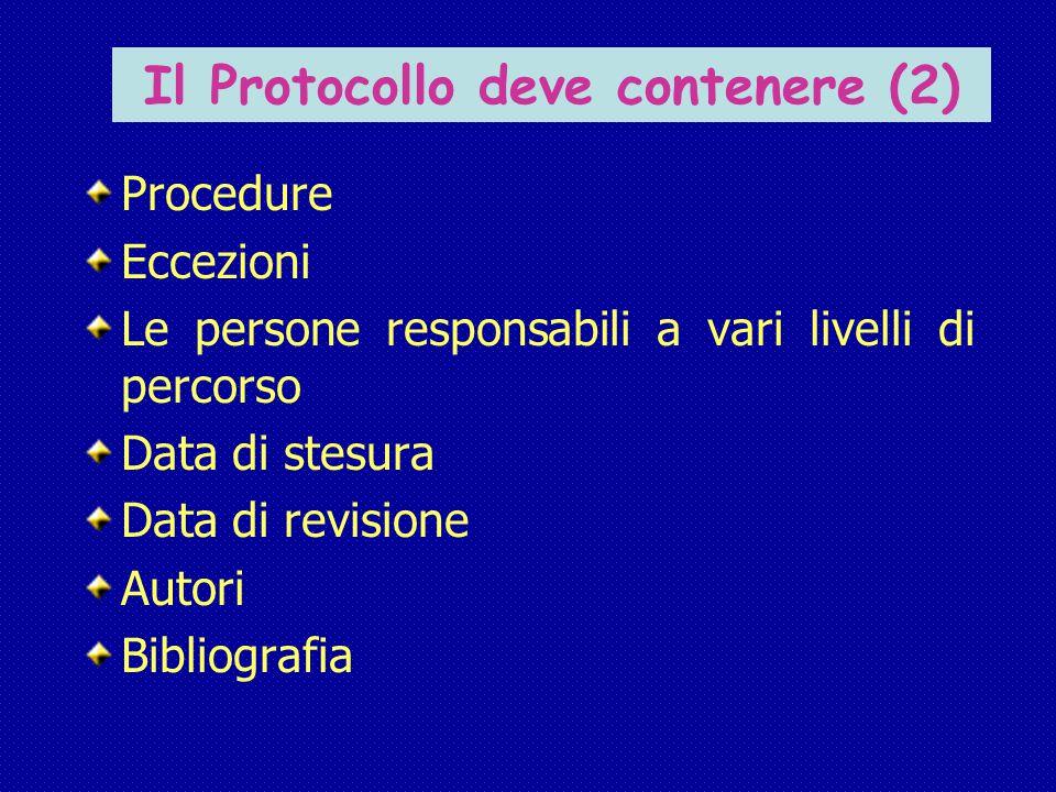 Il Protocollo deve contenere (2) Procedure Eccezioni Le persone responsabili a vari livelli di percorso Data di stesura Data di revisione Autori Bibliografia